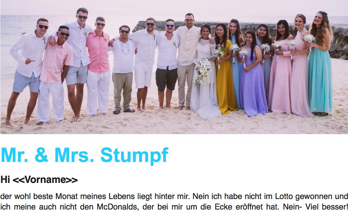 Newsletter Mr. & Mrs. Stumpf
